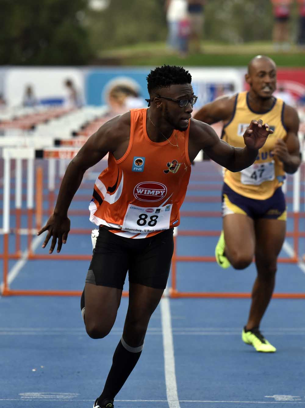 UJ hurdler Tshepo Lefete is ready to rumble in the Ussa athletics championships. Photo: Saspa