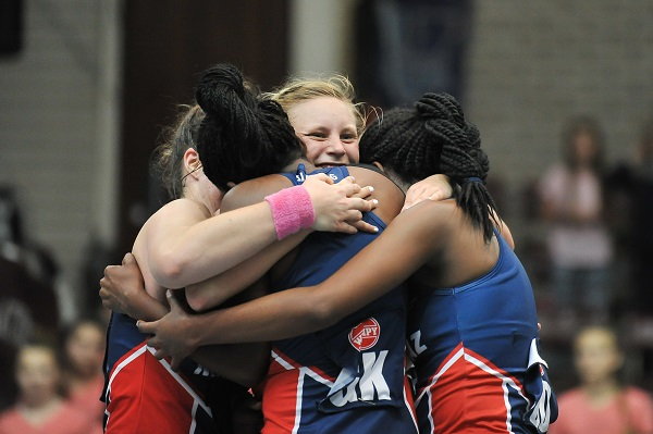 Madibaz players celebrate after beating NWU-Pukke in their Varsity Netball match yesterday. Photo: Luigi Bennet