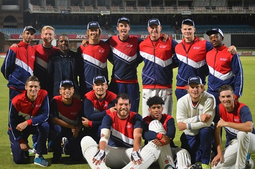 The Mecer-Madibaz team which won the T20 Mayoral Cup at St George's Park at the weekend are, back from left, Corbyn Dolley (coach), Rickus Saaiman (trainer), Sipho Sibande (Madibaz Sport cricket manager), Vian Maritz (captain), Brad Haller, Stefan Tait, Anru Emiljo, Odwa Xonxa and, front from left, Henco Vorstman, Offie Howard, Daniel Dutton, Jason Davidson, Kyle Jacobs, Aubrey Ferreira, Lloyd Brown. Photo: Supplied