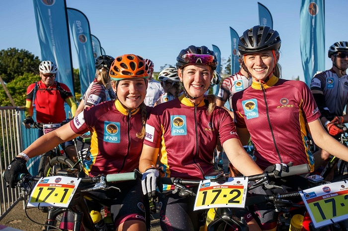The Stellenbosch University women's team of, from left, Frances du Toit, Nicky Giliomee and Marie Kempf will be the team to beat after taking a four-minute lead on the opening stage of the Varsity MTB Challenge at Nederburg wine farm near Paarl today.