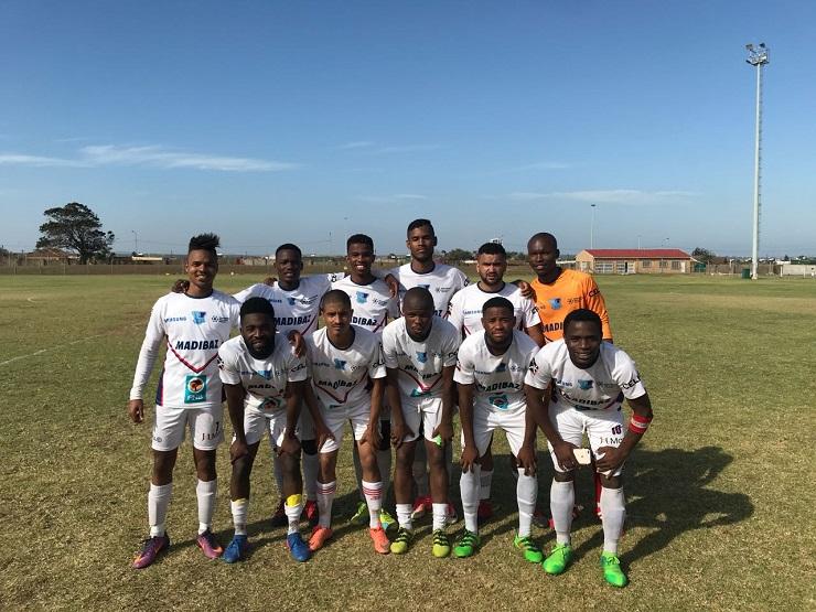 The Madibaz football team which won the regional SAB League section of the Nedbank Cup at the weekend is, back, from left, Sachin Rautenbach, Yamkela Va, Athenkosi Papu, Samuel Connelly, Kagan Assam, Mzwandile Mvunyiswa, and, front, from left, Malcom Mafuya, Anele Plaatjie, Chuma Fobo, Bandile Skosana and Cloudius Sagandira.