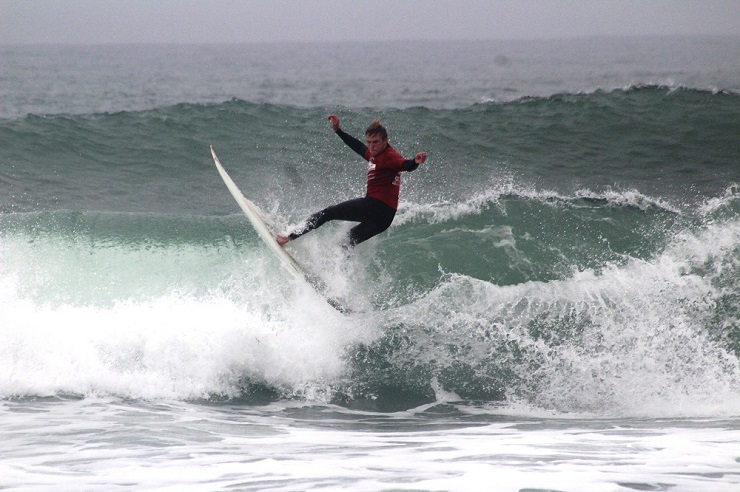 Kyle Ruben shows his style for Billabong Madibaz in the University Sport South Africa surfing championships in Port Elizabeth last weekend. Madibaz were runners-up overall, just eight points behind UCT.