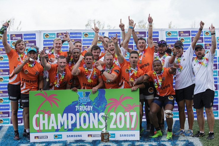 The University of Johannesburg team celebrate their maiden triumph in the Varsity Sevens rugby tournament after they beat University of Free State 32-5 in the final in Durban on Sunday. The squad is, from left, Edwin Jansen, Ronald Brown, Phomolo Makume, Siphamandla Bingwa, Cameron Langenhoven, Juandre Michau, Johan Vermaak, CJ Jordaan, Ricardo Duarttee, Johan Esterhuizen, Martin van Wyk, George Raftopoulous, Zack Webb, Devon Mare, James Campbell, Vuyo Shongwe, Jomo Mashiya, Stefan van Deventer, Robyn Phillips, Patrick Ross-Allen.