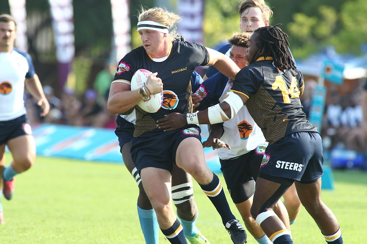 Madibaz forward Justin Hollis goes on a drive during their Varsity Cup rugby match against Central University of Technology in Bloemfontein on Monday.