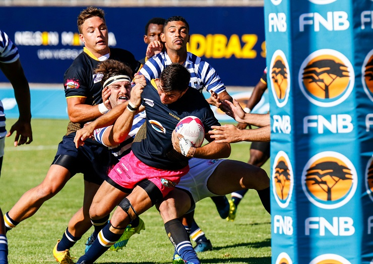 FNB Madibaz captain Riaan Esterhuizen drives for the line during their Varsity Cup rugby match against University of Cape Town at Madibaz Stadium in Port Elizabeth on Monday.