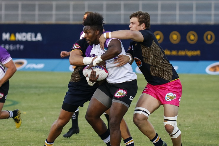 FNB Madibaz flank Brandon Brown tackles Akhona Nela of NWU-Pukke during their Varsity Cup rugby match at Madibaz Stadium in Port Elizabeth last week. Photo: Asem Engage