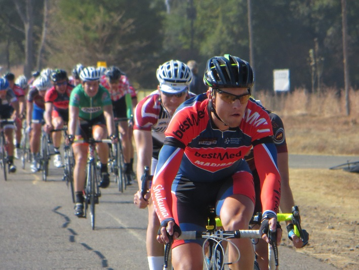 Bestmed-Shukuma Madibaz rider Marinus Prinsloo (front) finished second overall at the national student cycling championships in Pretoria last week. The Madibaz also triumphed in the team classification. Photo: Henk Prinsloo
