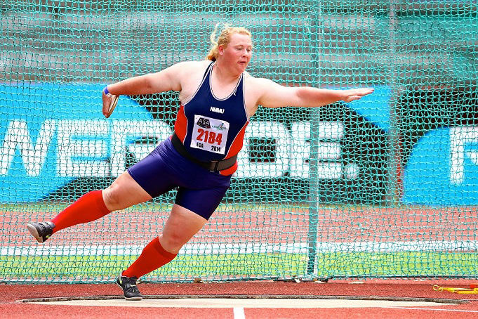 Madibaz shot put and discus star Ischke Senekal will coach aspiring field athletes at the Madibaz Athletics Club's coaching clinic, which takes place at Kirkwood High School from January 14 to 16. Photo: Richard Huggard