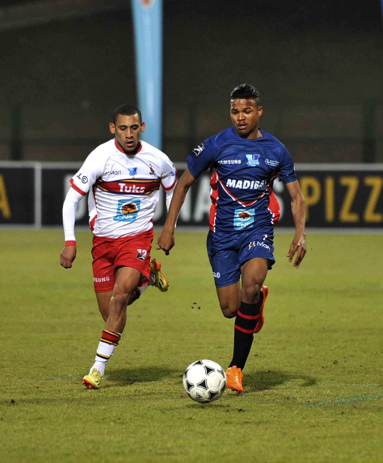 The Madibaz's Sachin Jackson (right) in action against Tuks during last week's Varsity Football match. The Port Elizabeth team face NWU-Pukke in the fourth round on Thursday evening. Photo: SASPA