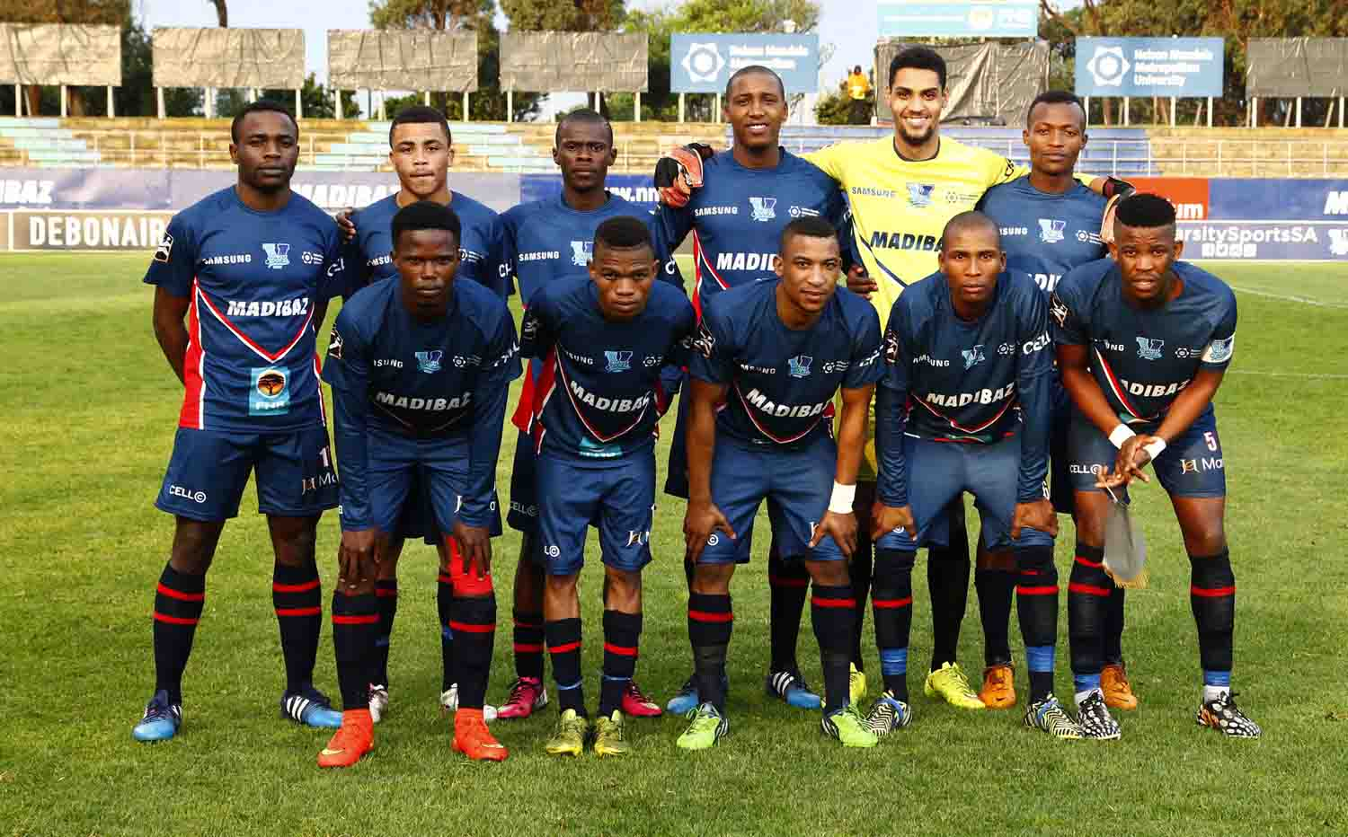The Madibaz team ended their Varsity Football campaign on a high note with a win over log leaders UWC in Port Elizabeth on Monday night. Pictured here are (back, from left) Cloudius Sagandira, Achuma Klaas, Onke Matomela, Lonwabo Balfour, Matthew Booysen (goalkeeper) and Simamkele Thobi; and (front, from left) Zusakhe Sali, Karabo Motlhabi, Onela Beqezi, Lundi Balfour and Athini Bisha (captain). Photo: SASPA
