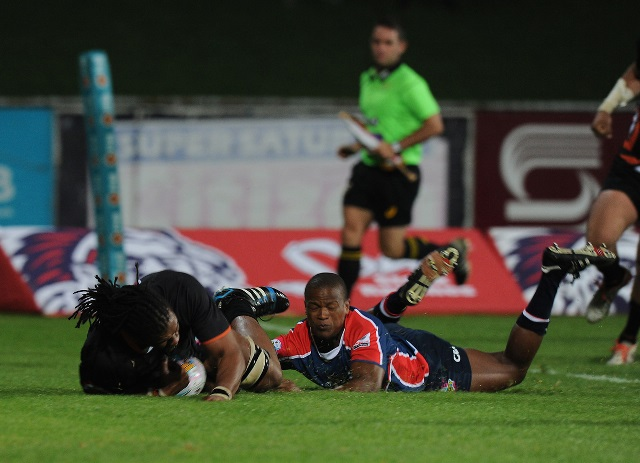 Khaya Malotana of the NMMU-Madibaz defending during the side's FNB Varsity Cup match against UJ. Photo: Saspa