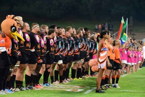 The FNB UJ team before the start of their FNB Varsity Cup match earlier this week. Photo: Saspa