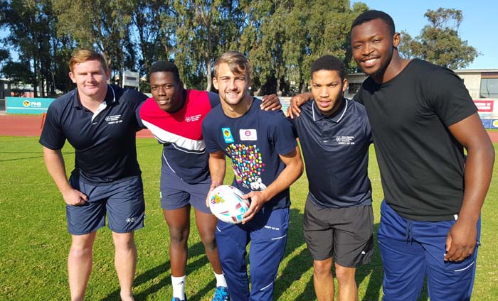 The FNB NMMU-Madibaz players who will represent South Africa in the World Rugby U20 Championship are, from left, Nicolaas Oosthuizen, Tango Balekile, Jeremy Ward, Keanu Vers and Junior Pokomela. Photo: Full Stop Communications