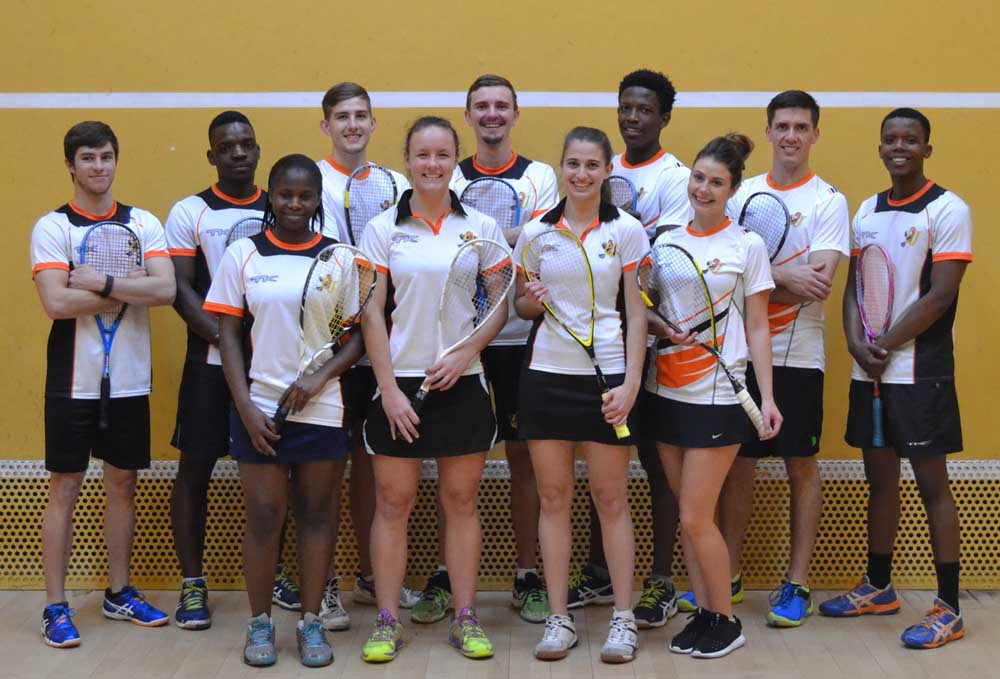 Representing the University of Johannesurg at the Ussa squash tournament in Stellenbosch next month are, from left, Ruan Olivier, Ray Dlamini, Tyrone Dial, Ian Sturgeon, Blessing Muhwati, Kyle Maree, Simpiwe Gqibane and, front, Nonpumelelo Ndaba, Alexa Pienaar, Kacey-Leigh Dodd and Mikaila Westmorland. Photo: Supplied