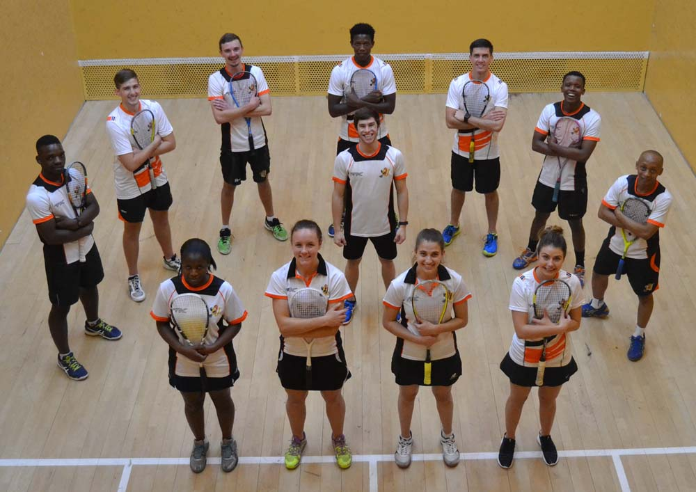 The UJ squash team that won the USSA tournament in Stellenbosch for the fifth straight time is, back from left, Ray Dlamini, Tyrone Dail, Ian Sturgeon, Blessing Muhwati, Kyle Maree, Simpiwe Gqibane, Thabo Kenosi, centre, Ruan Olivier (men's captain), front from left, Nonpumelelo Ndaba, Alexa Pienaar (women's captain), Kacey-Leigh Dodd and Mikaila Westmorland. Photo: Supplied