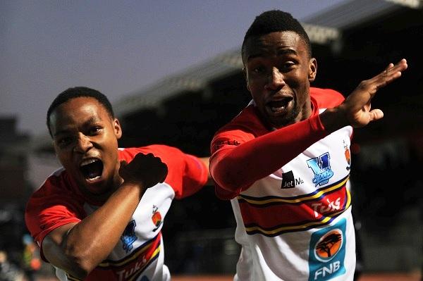 UP-Tuks' Mogau Khwinana celebrates his goal with Mbongeni Masilela. Photo: Saspa