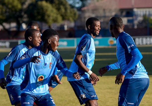 CUT players celebrate their first goal during their Varsity Football match against Wits. Photo: Saspa