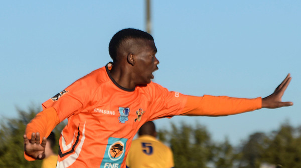 Sbongeleni Gamede of University of Johannesburg celebrates his opening goal during the Varsity Football match against University of the Witwatersrand at the UJ Soweto Campus on Monday. Photo: Saspa