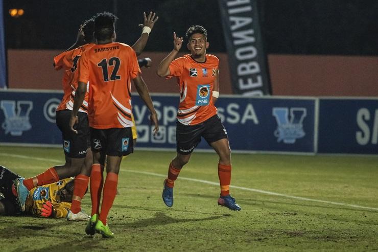 University of Johannesburg's Ziyaad Fredericks celebrates a goal against Fort Hare University in their Varsity Football match last week.