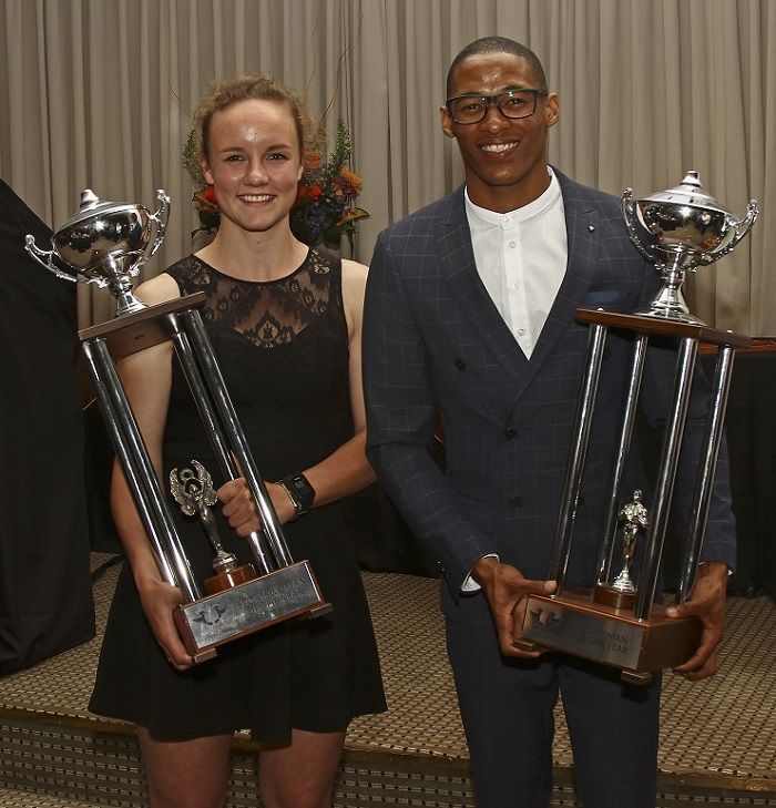Promising squash star Alexa Pienaar (left) and national long jumper Ruswahl Samaai were named the University of Johannesburg Sportswoman and Sportsman of the Year at the gala awards function at the Johannesburg Country Club yesterday.