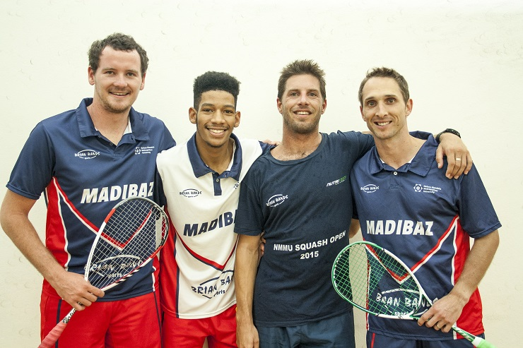The Madibaz men's squash team have won six Eastern Province first-league titles and five super league titles since 2012. Making up this year's triumphant super league side were (from the left) Johan Thiel, Gershwin Forbes, Brendan Bassett and Jason le Roux. The fifth member was Grant Greyling.