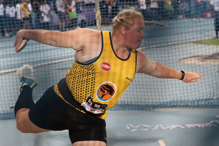 Ischke Senekal of Madibaz during the women's discus